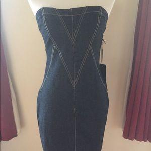 NWT Dark Denim Strapless Dress